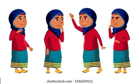 Arab, Muslim Girl Kid Poses Set Vector. High School Child. child, pupil. Active, Joy, Leisure. For Banner, Flyer, Brochure Design. Isolated Cartoon Illustration