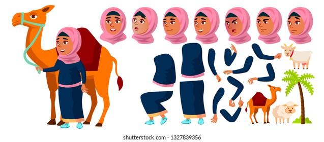 Arab, Muslim Girl Kid Vector. Animation Creation Set. Face Emotions, Gestures. Active, Joy, Leisure. Camel, Palm, Goat, Sheep. For Advertisement, Announcement Design. Animated. Cartoon Illustration