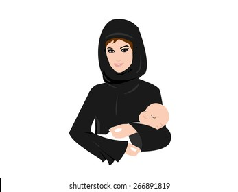 Arab Muslim mother holding her new born baby in her arms