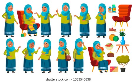 Arab, Muslim Old Woman Poses Set Vector. Elderly People. Senior Person. Aged. Cute Retiree. Activity. Advertisement, Greeting, Announcement Design. Isolated Cartoon Illustration
