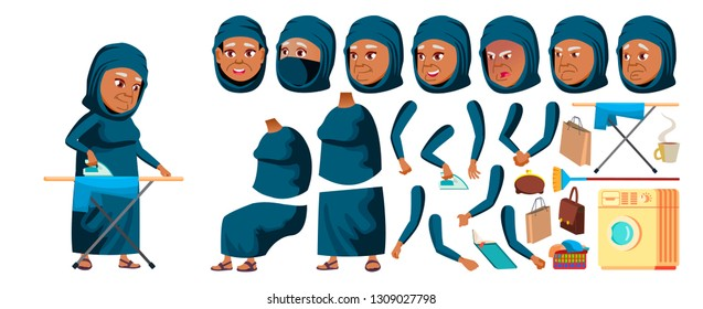 Arab, Muslim Old Woman Vector. Senior Person Portrait. Elderly People. Aged. Animation Creation Set. Face Emotions, Gestures. Banner, Flyer. Animated. Illustration