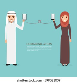arab and muslim people character using a mobile phone. communication technology. people  vector design.