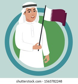 arab muslim qatari man holding qatar flag in hand. Arab wearing cultural white thobe or thawb celebrating national day of qatar. Vector illustration