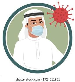 Arab muslim saudi man wearing medical mask during corona virus crisis. Arab male avatar icon or picture for awareness, precaution & prevention against coronavirus covid19, Rules in lock down 2020