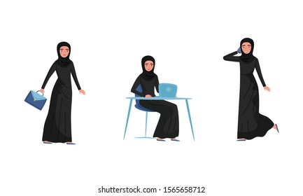 Arab Muslim Woman Character Isolated On White Background