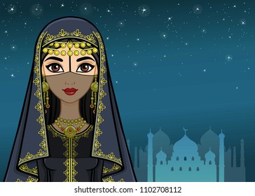 Arab night. Animation portrait of the beautiful girl in ancient clothes. A background - the night star sky, a palace silhouette. The place for the text. Vector illustration.
