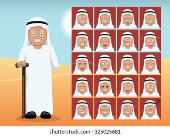 Arab Old Man Cartoon Emotion faces Vector Illustration