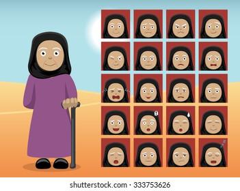 Arab Old Woman Cartoon Emotion faces Vector Illustration