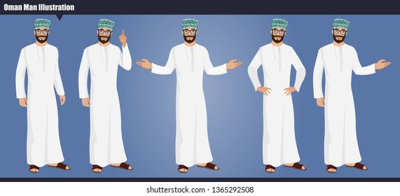 Arab Omani male character set with hand poses and actions Vector illustration design. Oman businessman vector illustration.