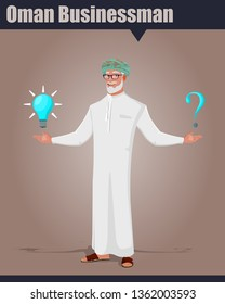 Arab Omani Old male character with options, showing a bulb and a question mark. Oman old businessman vector illustration.
