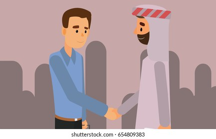 An Arab person shaking hands with a businessman. Diversity Partnership Flat Illustration Vector.