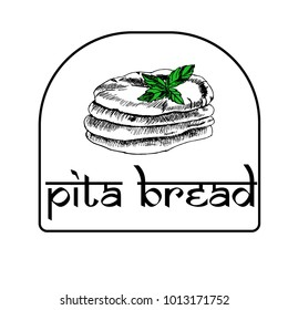 Arab pita with a basil leaf. Sketch. Icon for the menu, cafes, restaurants, bakeries.