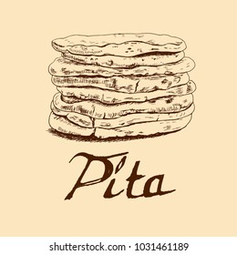 Arab pita. Sketch. Icon for the menu, cafes, restaurants, bakeries.