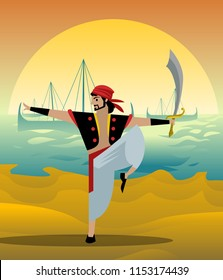 arab sailor with scimitar sword