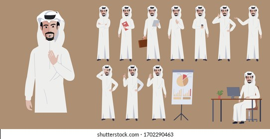 Arab Saudi businessman character. Different poses and emotions. Vector illustration in a flat style