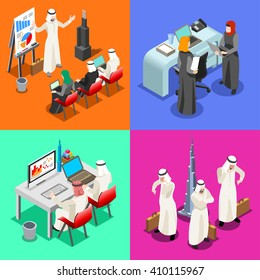 Arab Saudi Businessmen group working. Middle Eastern desk woman & laptop. Flat 3D Isometric muslim men People character Collection. Arabian Business Infographic Elements Isolated Vector Image