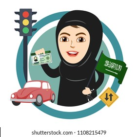 Arab Saudi Woman or Girl being happy after getting Permission to Drive, and Holding Saudi Arabia Flag. Female Drivers are allowed Driving License now. Women Empowerment.