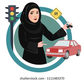 Arab Saudi Woman or Girl being happy after getting Permission to Drive, and Holding Car keys. Female Drivers in Saudi Arabia are allowed Driving License now.