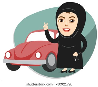 Arab Saudi Woman or Girl being happy after getting Permission to Drive, and Holding Car keys. Female Drivers are allowed Driving License now.