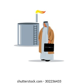 Arab sheikh near the oil and gas storage facilities in traditional clothing. Vector Illustration. Branding Identity Corporate logo design template Isolated on a white background