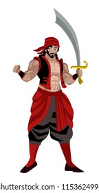 arab sinbad sailor with scimitar sword