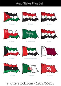 Arab States Waving Flag Set. The set includes the flags of Jordan, Egypt, Syria, Oman, Saudi Arabia, Iraq, Kuwait, UAE, Qatar, Libya, Algeria and Tunisia. Vector Icons, elements neatly on Layers