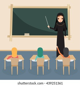 Arab student and teacher with black board. Arab children presenting at classroom.
