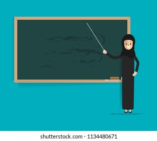 Arab student or teacher with blackboard. woman presenting at classroom.