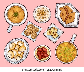 Arab sweets top view. Arabian ramadan food kunafa, maamul, rice pudding. Oriental cuisine pastry on porcelain plates with traditional ethnic ornaments, eastern culinary Cartoon vector illustration