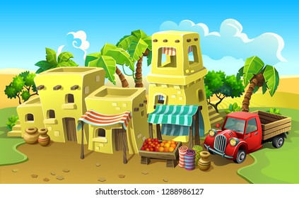Arab town. Stone houses in the desert. Vector antique city with a market among the sands and palm trees.