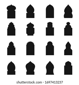 Arab traditional window black silhouette icon set. Geometric architecture design. Vector arab window illustration on white background