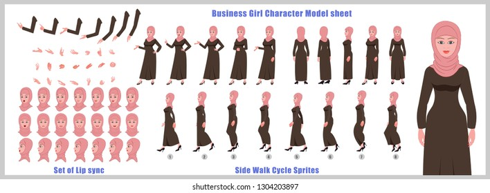 Arab woman character model sheet with walk cycle animation. Character design. Front, side, back view animated character. character creation set with various views, face emotions,poses and gestures.