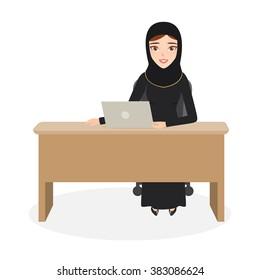 arab woman character at office work. muslim woman.
