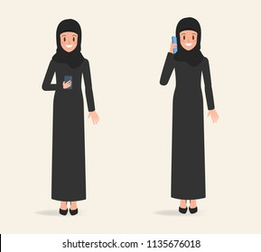 arab woman character to talking a mobile phone to communication. businessman cartoon design.