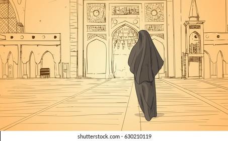 Arab Woman Coming To Mosque Building Muslim Religion Ramadan Kareem Holy Month Vector Illustration