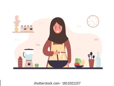 Arab woman cooking in kitchen. Smiling girl preparing homemade meals for lunch or dinner. Preparation homemade pastry or baking. Flat cartoon vector illustration.