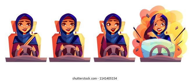 Arab woman driving car vector illustration of modern rich girl in Saudi Arabia hijab with not fastened seatbelt, talking on phone and get into accident with automobile crash and safety airbag