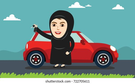 Arab Woman or Girl being happy after getting Permission to Drive, and Holding Car keys. Female Drivers are allowed Driving License now.