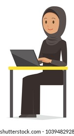 An arab woman wearing ethnic costumes is operating a laptop computer