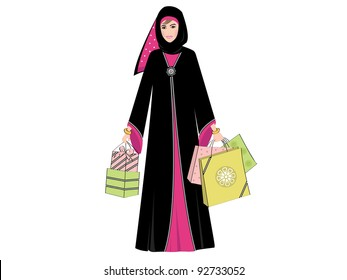 Arab woman wearing a traditional black Arabic dress with bright pink flower and pattern detail; holding several colorful shopping bags and gifts.
