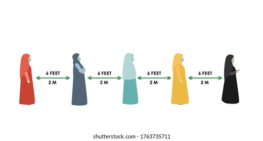 Arab women. social distance. Full length of cartoon sick people in medical masks standing in line against at a safe distance of 2 meters or 6 feet. flat vector illustration
