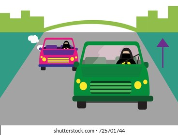 Arab women in traditional abaya dress drives car along a highway. Editable Clip Art.