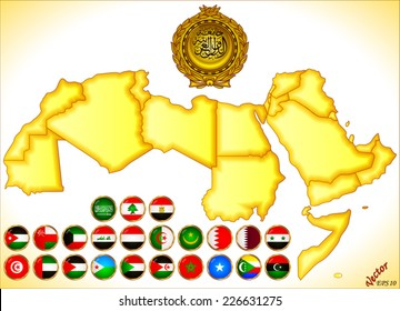 Arab World Map and Flags