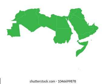 Arab World states. Blank political map of 22 arabic-speaking countries of the Arab League. Northern Africa and Middle East region. Vector illustration.