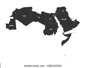 Arab World states. Political map of 22 arabic-speaking countries of the Arab League. Northern Africa and Middle East region. Vector illustration.