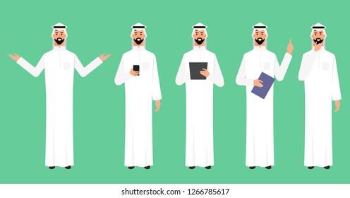 Arab-Businessman-Arab character poses-character set