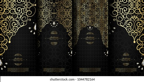 Arabesque abstract islamic element classy black and gold background card template vector set design