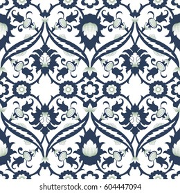 Arabesque damask vintage decor ornate seamless floral decoration print for design template vector. Eastern style pattern. Ornamental illustration for invitation, greeting card, wallpaper, background