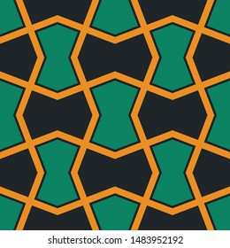 Arabesque Decorative Yellow and Green Geometric Seamless Pattern