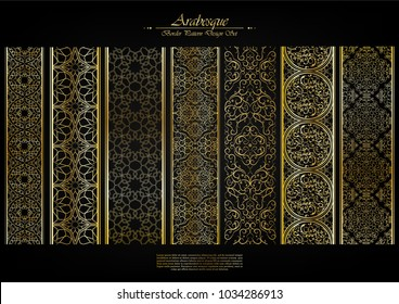 Arabesque element pattern boarder collection background vector design